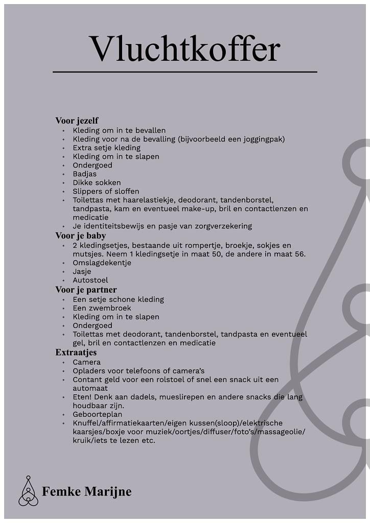 Checklist vluchtkoffer